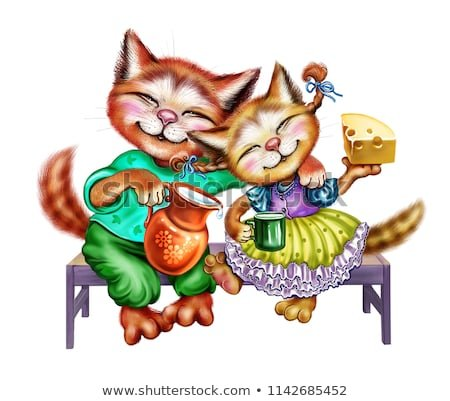 two happy kittens with milk and cheese funny cartoon animals hugging couple of enamored