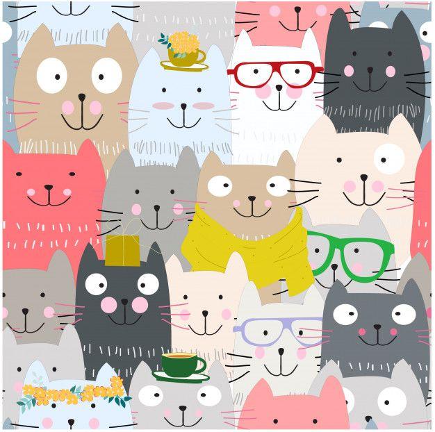 Cute funny cat cartoon seamless pattern Premium Vector