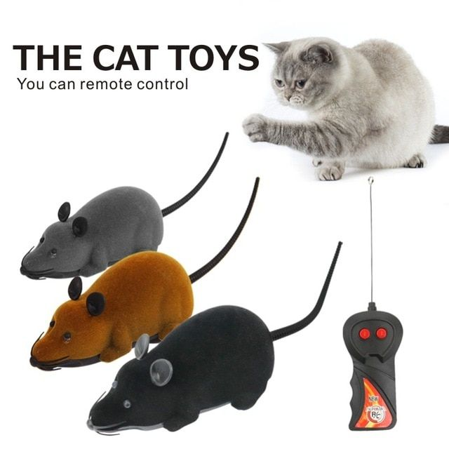 Funny Pet Cat Mice Toy Wireless Simulation Plush Mouse RC Electronic Rat Mice Toy Remote Control