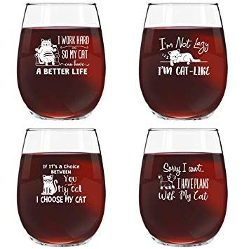 Funny Cat Stemless Wine Glasses Set of 4