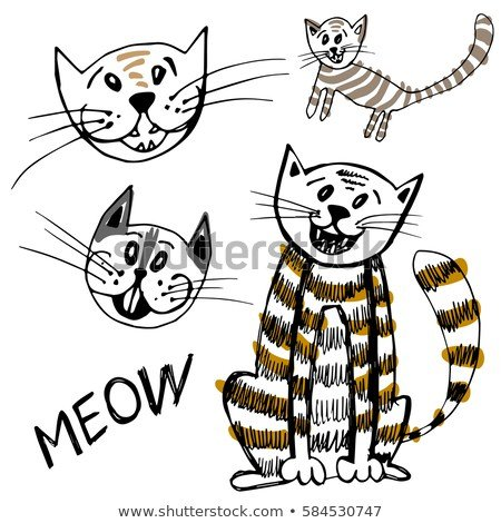 set of funny cartoon cat face Cartoon cats Collection Cute happy cats with meow