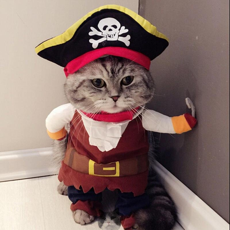 Funny Cat Costume Pirate Suit Cat Clothes Corsair Halloween Costume Puppy Clothes Suit Dressing Up Party Clothing For Cat 25S1 Cat Girl Costumes Cat