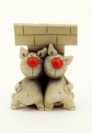 Funny cats funny cat figurine with red noses Stock