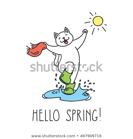 Hello spring Doodle vector illustration of funny jumping cat in boots
