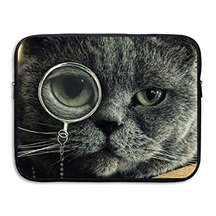 Business Briefcase Sleeve Funny Cat Glasses Pattern Laptop Sleeve Case Cover Handbag For 13 Inch Macbook