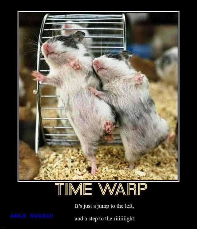 Time Warp Put your hands on your hips and bring your knees in tiiiiiiight