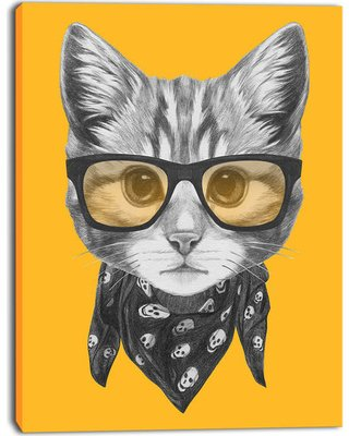 Funny Cat with Glasses and Scarf Animal Canvas Art Print