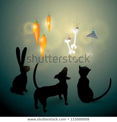 MERRY CHRISTMAS card Dog Cat and Rabbit look at funny decorations
