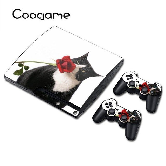 6 Style Cat Vinyl Skin Funny Sticker For Sony PS3 Slim Console dustproof Protector Cover For