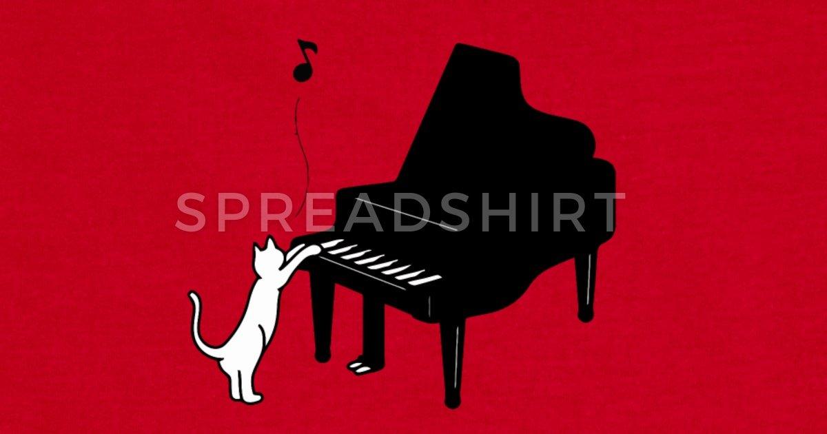 Cute Cat Playing Piano T Shirt Funny Musician Art by koaimi