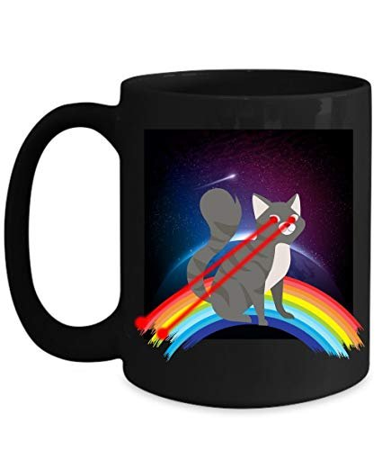 Funny Cat Lover Mug Laser Eyes Outer Space Kitty Cat Rainbow Home fice Coffee