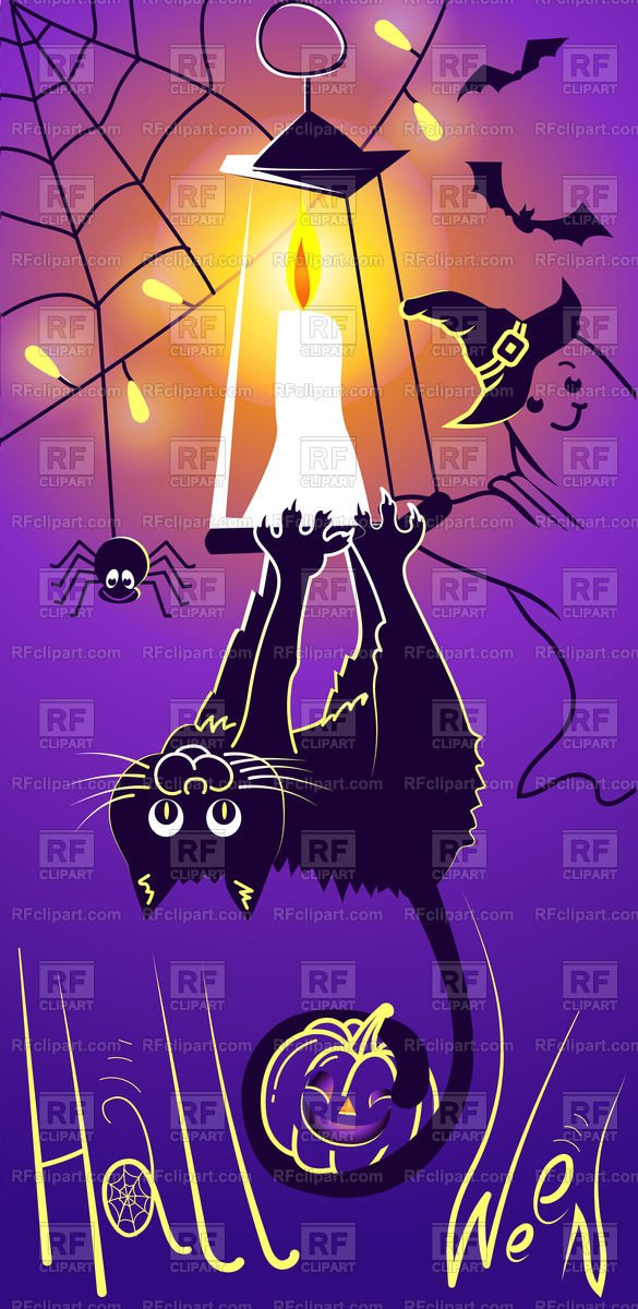 Halloween with funny black cat Vector Image – Vector Artwork of Holiday © rodnikovay to Zoom