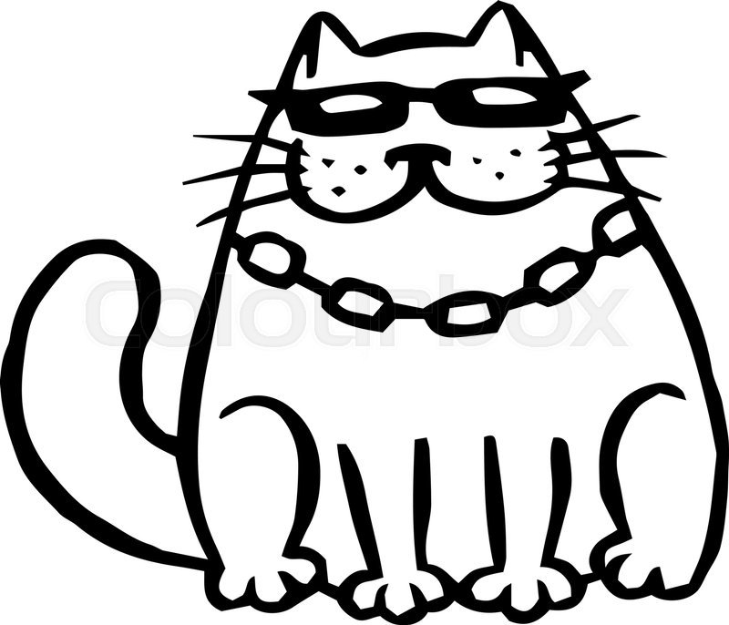 Bandit cat in black glasses Funny cartoon cool character Contour freehand digital drawing cute cat White color background Cheerful pet for web icons and