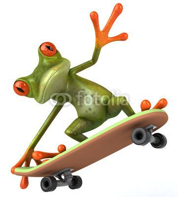 A green frog skateboarding we see this everyday