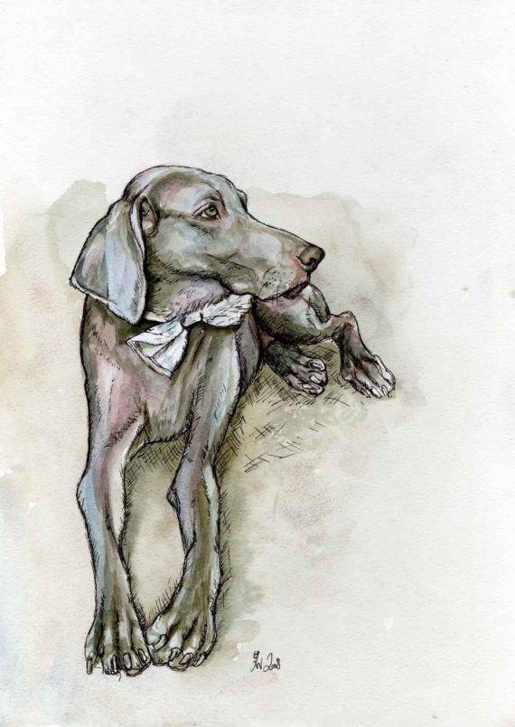 The Unconditional Love Weimaraner Dog Art by