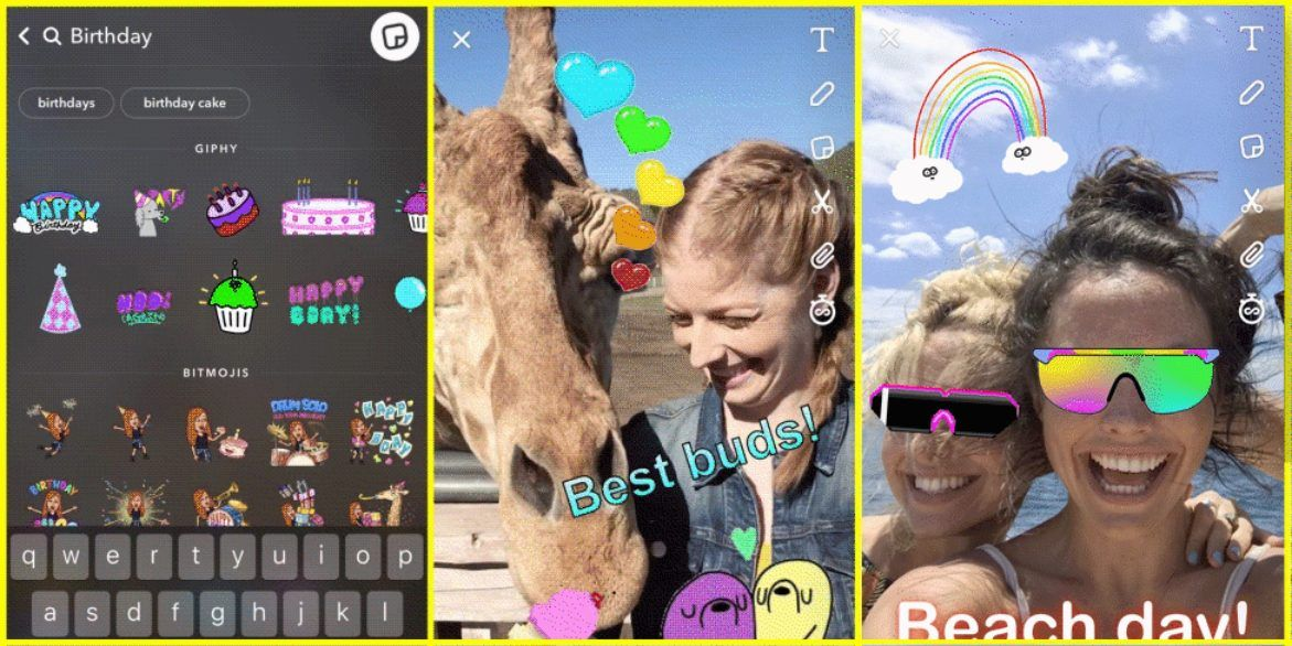 Snapchat update adds animated stickers with GIFs from GIPHY new Stories and Discover tabs ing soon