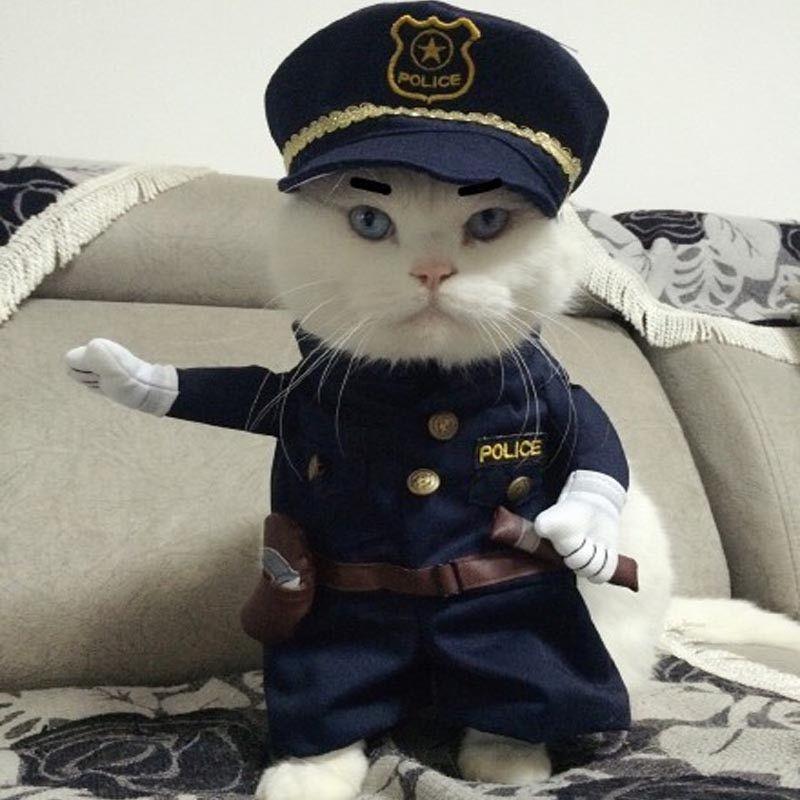 Funny Halloween pet cat dog police costume cosplay