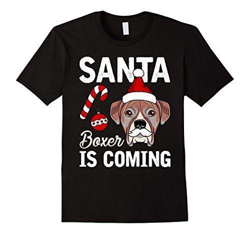 Santa Boxer Is ing T shirt Funny Cartoon Dog