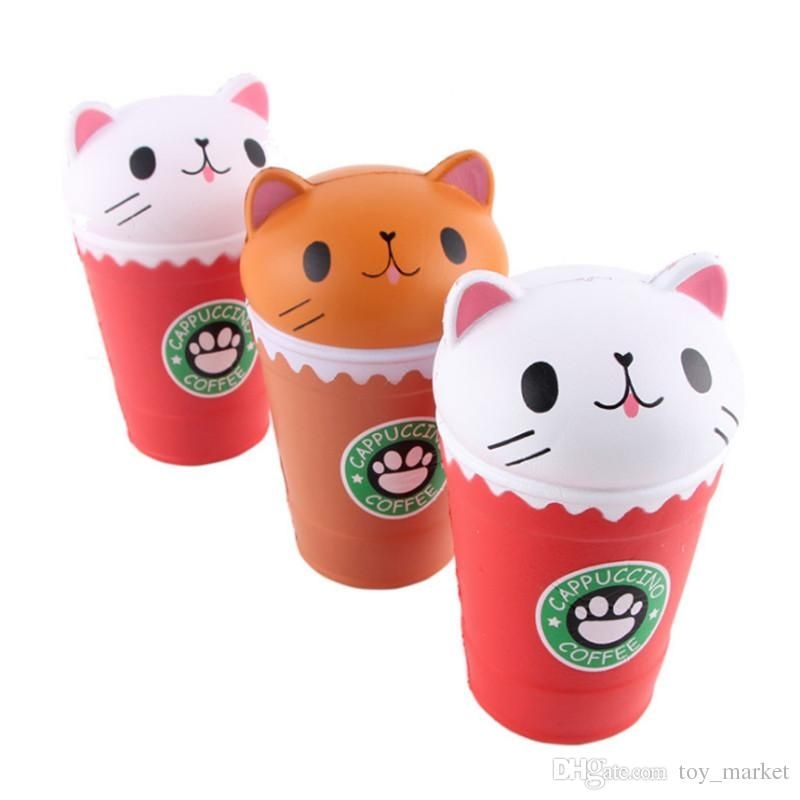 2018 Cat Squishy Toys Coffee Cup Squishies Cute Animal Slow Rising Vent Children Toy Gifts New 14cm Jumbo Jumbo Squishy Cute Cat Squishy Toys Coffee Cup