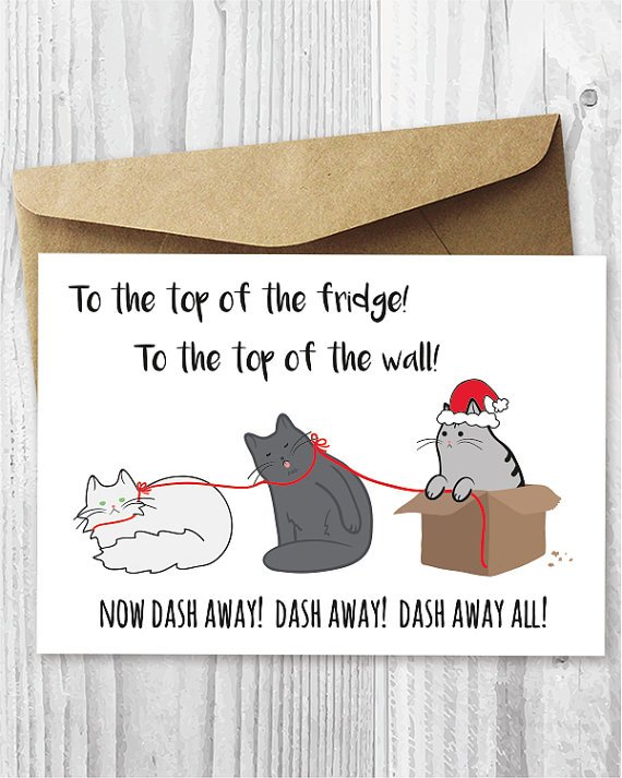 Printable Christmas Cards Funny Cats Christmas Cards Printable Cards Santa Paws Cat Card DIY Funny Christmas Card Digital Downloads