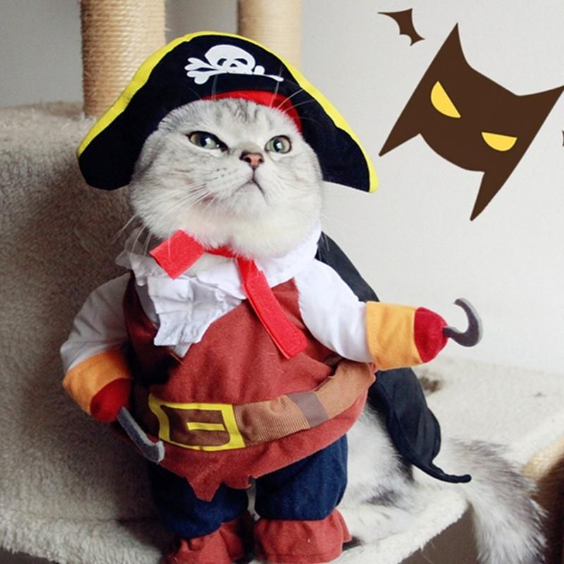 Funny Pirate Cat Clothes For Pet Cat Costume Suit Dog Clothes Corsair Dressing Up Clothes For Dogs New Chihuahua Plus Hat 3 Cat Dog Halloween Costumes Cat