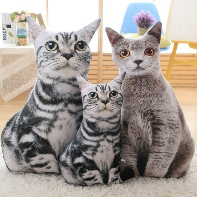 1 pc 50cm Stuffed 3D Simulation Cat Pillow 4 Styles Funny Gray Cat Toy Lovely 2017