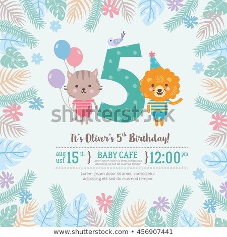 Greeting card design with cute lion and cat Happy birthday invitation template for five year