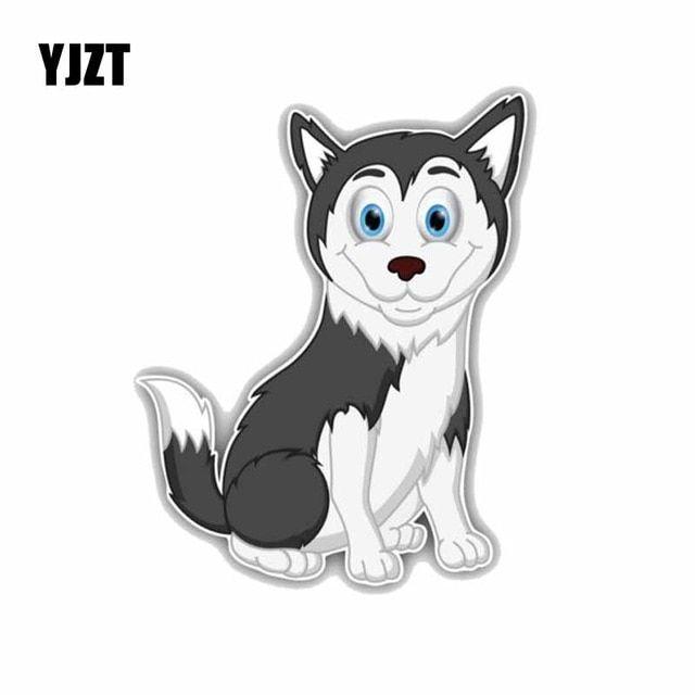 YJZT 11 8 14CM Funny Husky Dog Cartoon Fashion Decoration Car Sticker C1 4233