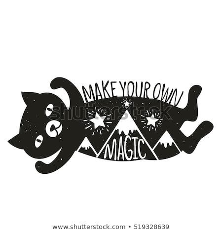 Funny vector illustration with cat and mountains with shiny stars Stylish childish design vintage