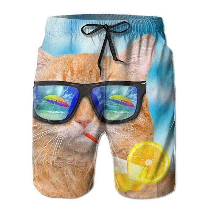 Summer Cat XXL Beach Pants Men Funny Summer Pants Casual Quick Dry Bathing Suits