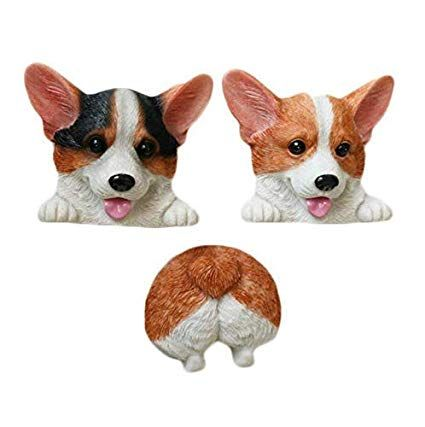 Gwill Cute 3D Funny Dog Butt Fridge Magnets Corgi fice Magnets Calendar Whiteboard Magnets Home Animal