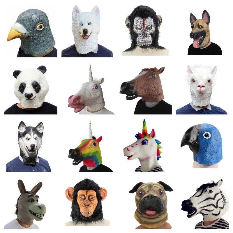 Creepy Horse unicorn Alpaca Pigeon Rubber Animal Mask latex party Panda Animal Mask kids Party Halloween