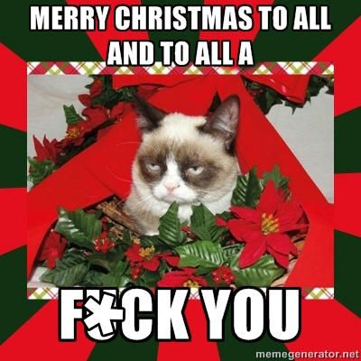 Angry Cat Christmas Meme 01