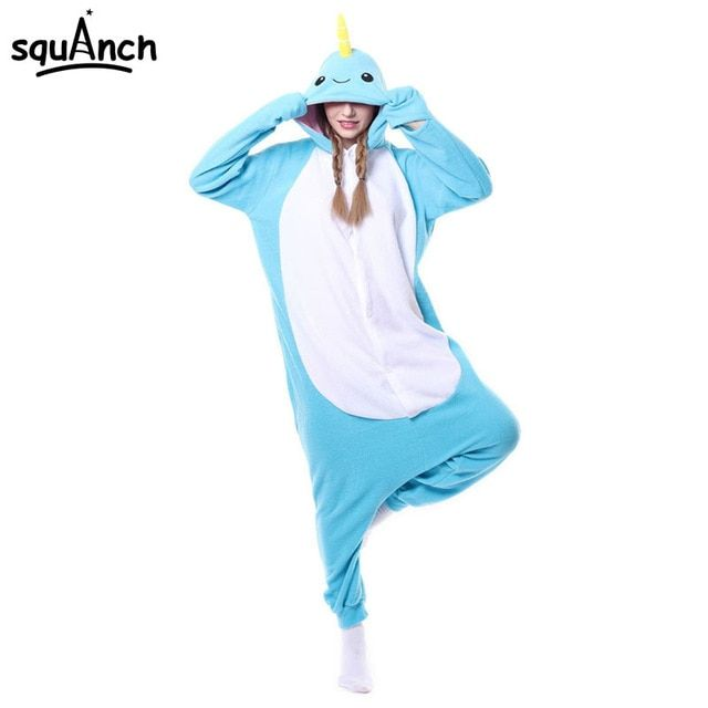 Narwhal Kigurumi Pajama Animal Cartoon esie Women Men Adult Funny Outfit Whale Fish Costume Blue Cute