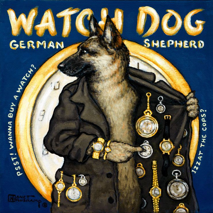 Watch Dog a poster painting by Janet Kruskamp offers a whimsical look at the German Shepherd breed of dogs Portraying the Shepherd as a s