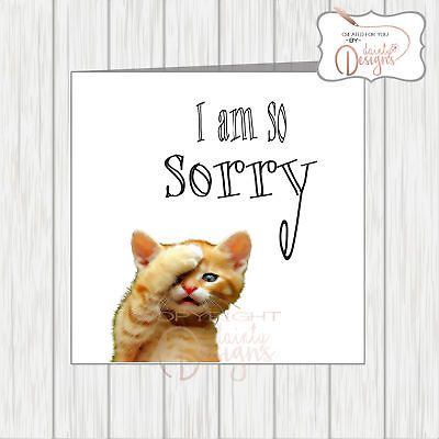 I m Sorry Card Cute Cat With Paw Clasped To Head In Shame Apologise