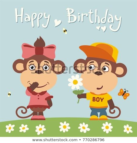 Greeting card funny monkey boy gives flower to girl