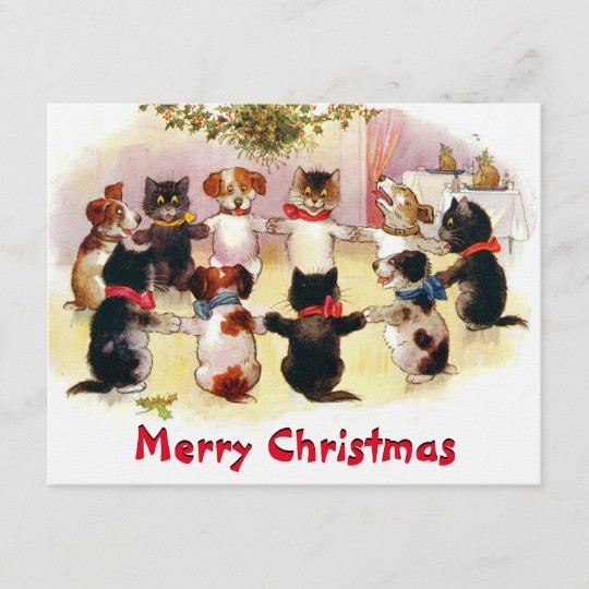 Funny Vintage Merry Christmas Cats and Dogs Holiday Postcard