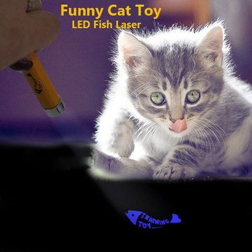 Pet Funny Cat Toy LED Laser Pointer Light With Bright Fish Animation