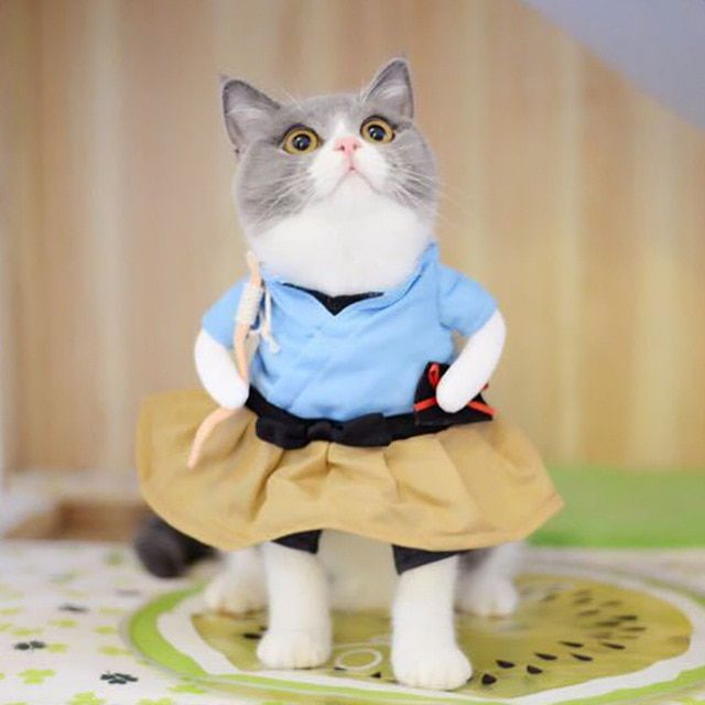 Funny Dog Cat Costumes Urashima Taro Cosplay Suit Pet Apparel Halloween Christmas Clothes For Puppy Dogs
