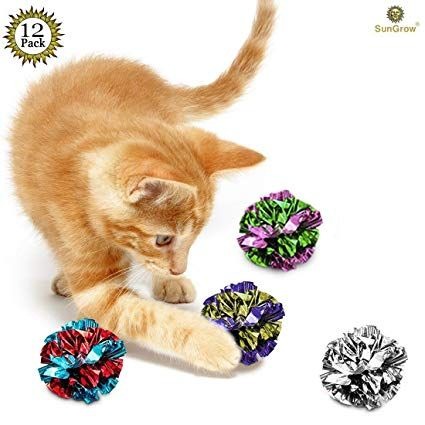 12 Mylar Crinkle Balls for Cats Soft Lightweight & Fun Toy for Both Kittens