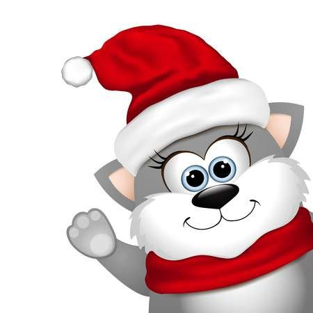 Funny Christmas cat on a white background Stock Vector