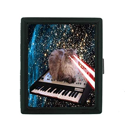 Cat Shooting Lasers Out of Eyes Funny Cat Gifts Small Black Cigarette Case Size 3 830