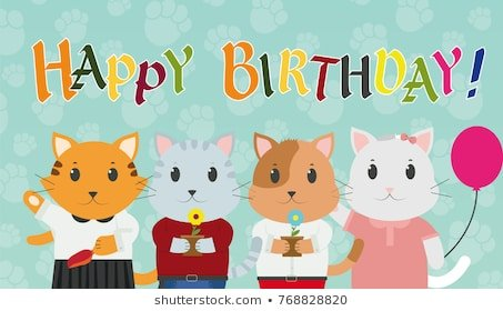 Happy birthday greeting card cat with ts vector illustration