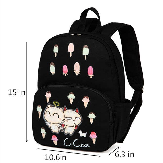 Funny cat school backpack for girls black canvas travel bags