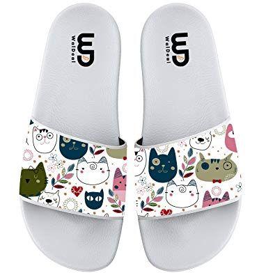 Cartoon Funny Cat Face Print Summer Slide Slippers For Men Women Soft Open Toe Non