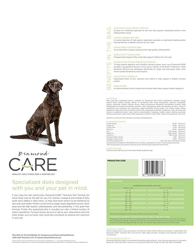 Amazon Diamond Care Sensitive Skin Recipe Specially Made as a Limited Ingre nt Diet with Hypoallergenic Essentials to Support Dogs with Sensitive