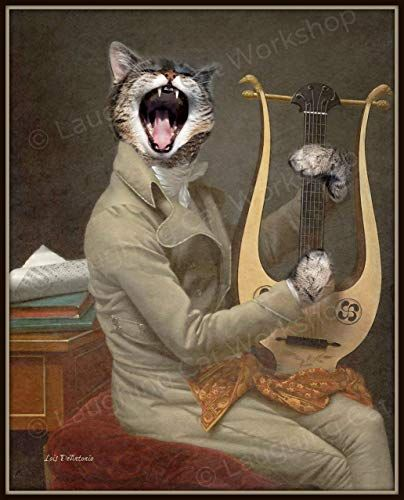 Funny Singing Cat Art Print Cat meme Vintage Victorian Anthropomorphic picture Whimsical Kitsch Surreal Antique Altered
