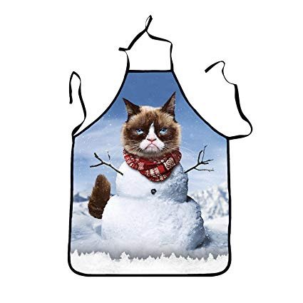 Cute Cat Christmas Apron Funny Cooking Kitchen BBQ Apron for Woman and Man Novelty Uni