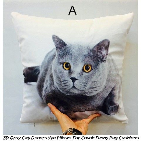 3D gray cat decorative pillows for couch funny pug cushions